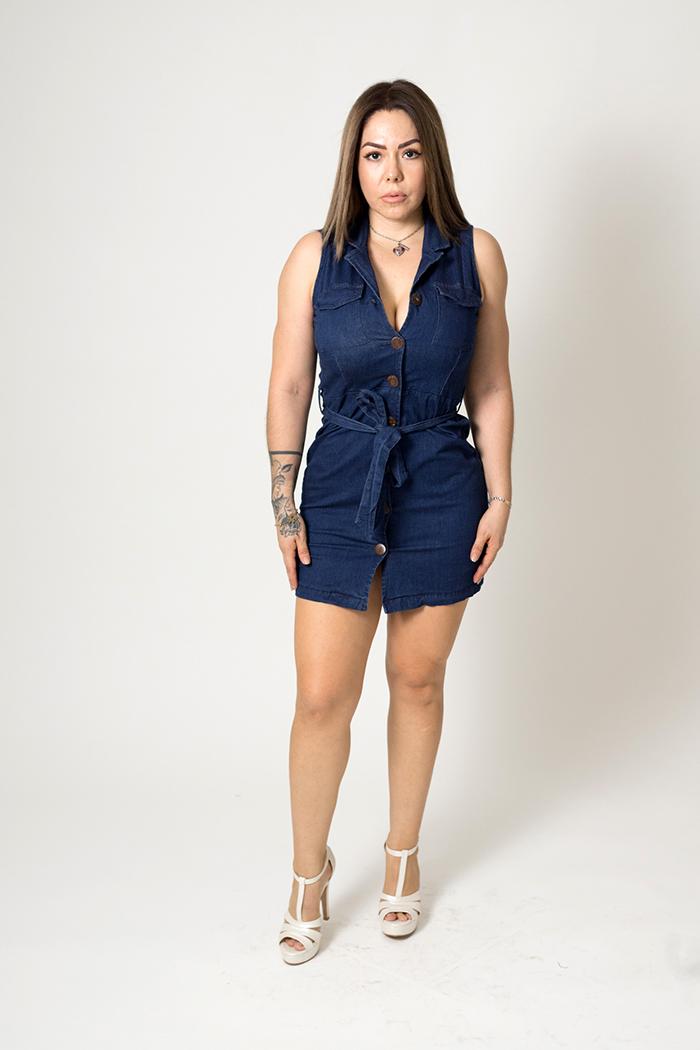 Vestido Mezclilla Corto Strech Botones – 2030A