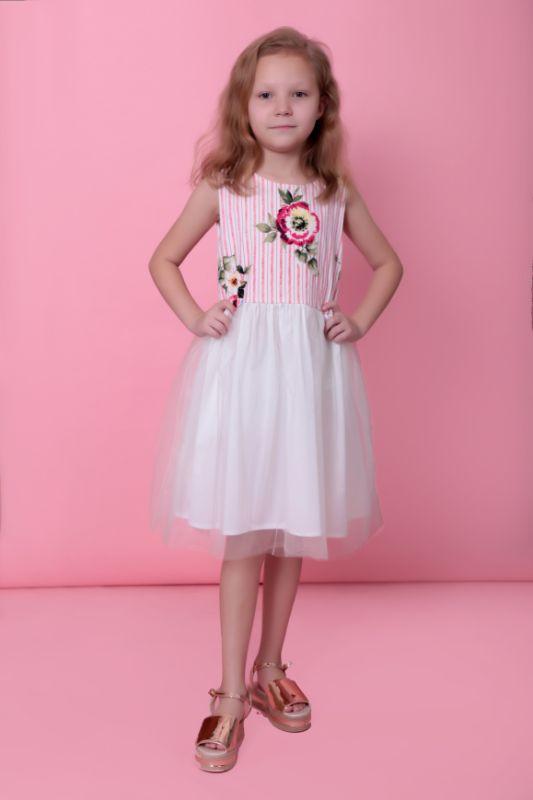 Vestido Blanco con Detalles de Flores y Tul – 11419