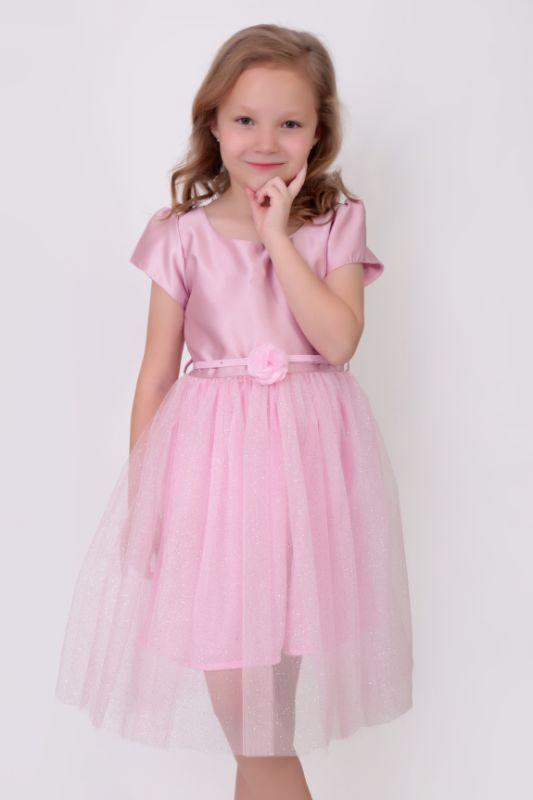 Vestido Rosa Twill/Tul, Cinturón Ajustable con Detalle de Rosa – 136201
