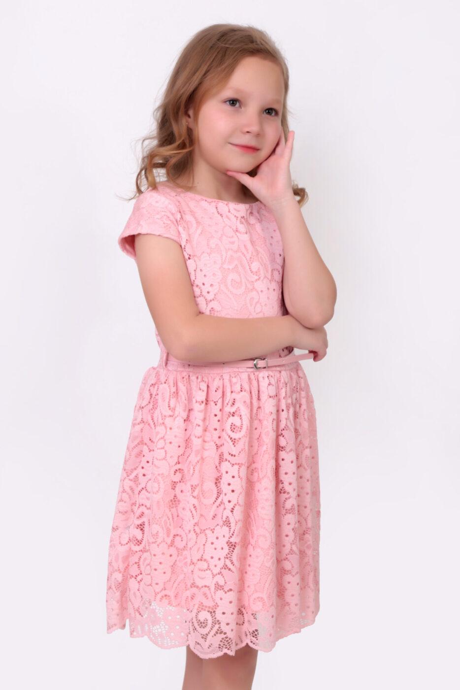 Vestido Crochet Rosa Con Cinturón Ajustable – 143201