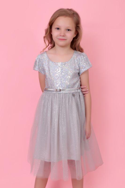 Vestido Plata Lentejuela/Tul – 145201