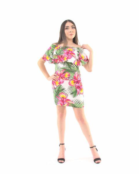 Vestido Estampado Manga Corta – 981