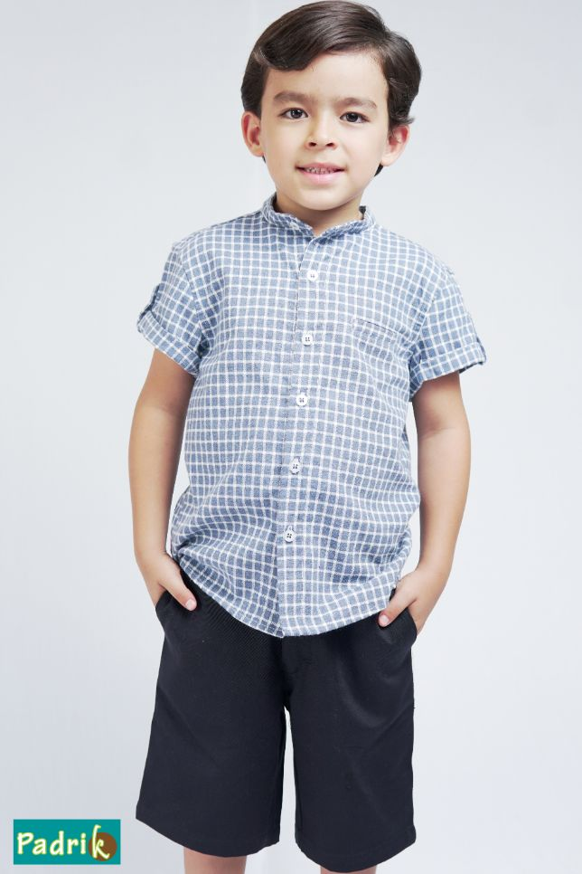 Camisa Cuello Mao Cuadros – 770040N