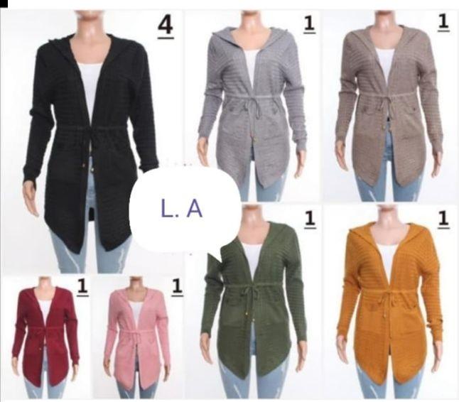 Suéter Largo Bolsas Frontales Listón en Cintura – 4A