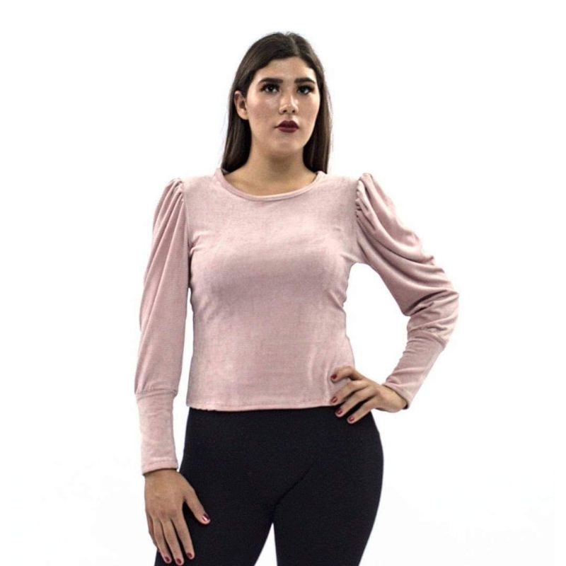 Blusa Lisa Hombro Plisado Tipo Globo M.L. Pana Strech – 307