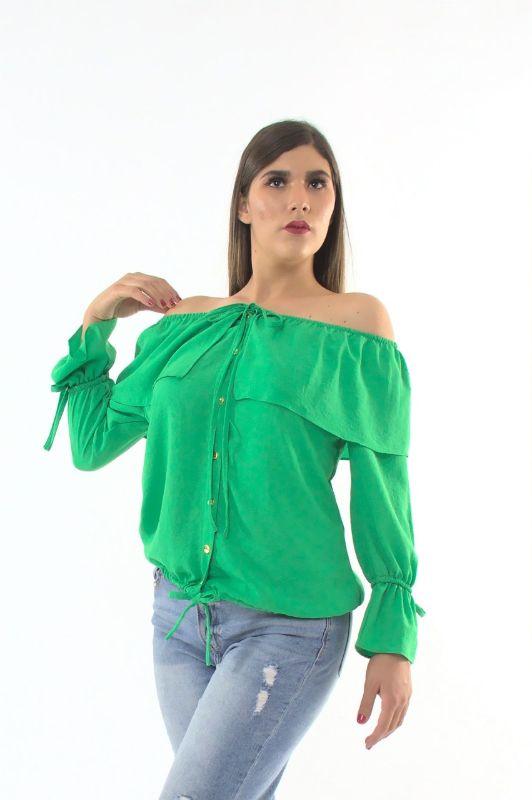 Blusa Cuello Barco M.L. con Botones Moño en Muñecas – 945