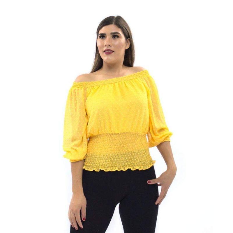 Blusa Cuello Barco con Elástico en Cintura – 950