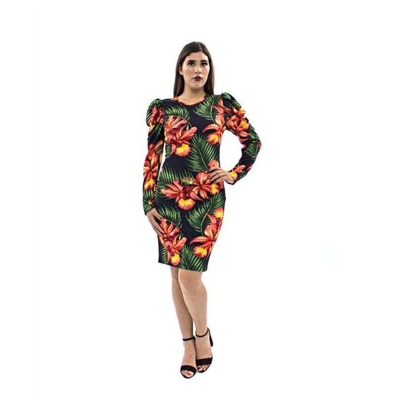 Vestido Estampado M.L. Tipo Globo – 951E