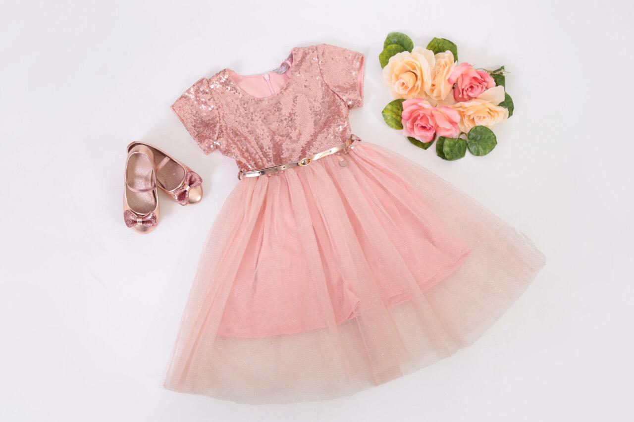Vestido Lentejuela/Tul, Oro Rosa – 138201