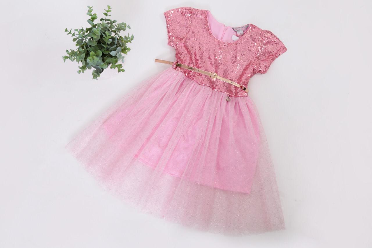 Vestido Rosa Lentejuela/Tul – 145202